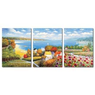 【橙品油畫布】三聯風景無框藝術掛畫30x40cm(shi-161)