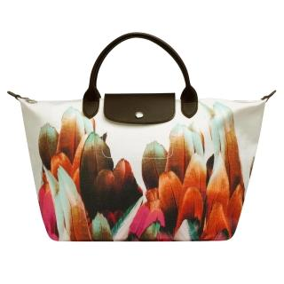 【LONGCHAMP】Tribu Longchamp短把七彩羽毛手提包(中-赤陶色1515581-213)