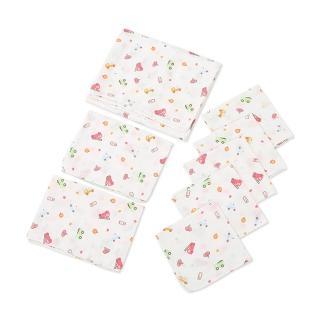 嬰兒雙層印花高密度紗布浴巾手帕(8件組)