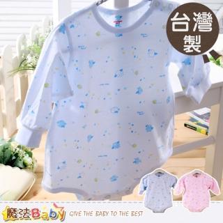 【魔法Baby】嬰兒連身衣-台灣製造薄款肩開扣連身衣(g3495)