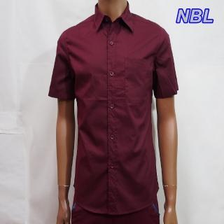 ~NBL~NEWBOYLONDON~T0463B淺藍色R酒紅色素面短袖襯衫^(零碼 虧本價