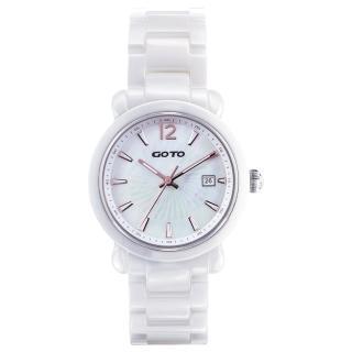 【GOTO】Aurora 陶瓷時尚腕錶-白x玫刻度(GC0167M-22-H41)