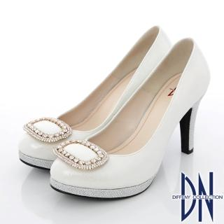 【DN】經典花漾 璀璨水鑽飾扣金蔥新娘跟鞋(銀)