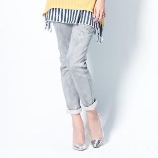 【RH】晶鑽修身美腿牛仔褲灰色(時尚灰)