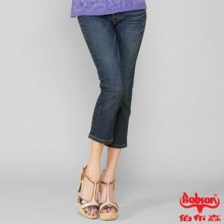 【BOBSON】女款鑽飾牛仔七分褲(藍209-52)