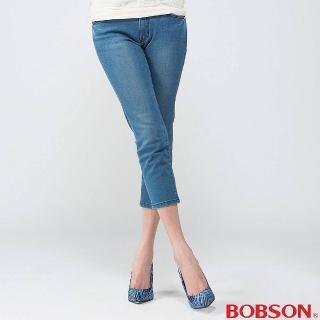 【BOBSON】女款膠原蛋白七分褲(淺藍205-58)