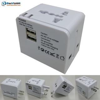 【BosVision】白色2.1A 雙USB 旅行萬用轉接頭 / 轉接插頭 / 萬用插頭 / 電源轉換頭