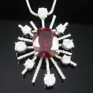 【Celosa珠寶】-燦星紅寶墜鍊