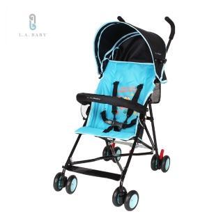 【美國 L.A. Baby】亮彩輕便嬰兒手推車(繽紛藍)