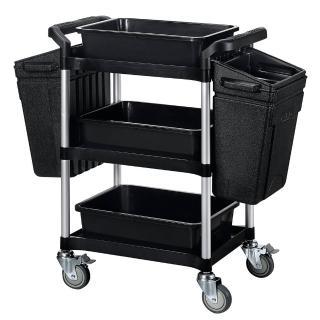 【SONA MORE】小型三層餐廚整備工作推車+整理籃+掛桶(豪華全配組)