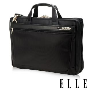 【ELLE HOMME】尼龍╳皮革14吋筆電收納兩用公事包(黑 EL74164A-02)