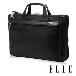 【ELLE HOMME】尼龍╳皮革15吋筆電收納兩用公事包(黑 EL74166A-02)