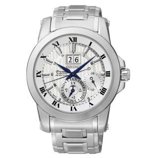 【SEIKO】精工萬年曆古典傳世紳士錶(PREMIER 人動電能-7D56-0AB0S)