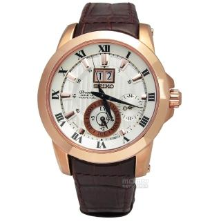 【SEIKO】Premier萬年曆皮革腕錶 咖啡X玫瑰金 42mm(SNP096J1.7D56-0AB0P)