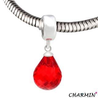 【E&I】CHARMIN 時尚創意手鍊  施華洛水晶-櫻桃紅水滴 925純銀造型吊墬