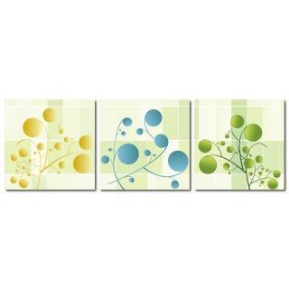 【123點點貼】三聯式藝術創意無痕壁貼(J4007)