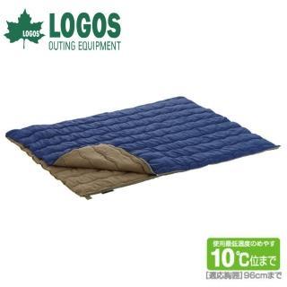 【日本LOGOS】10℃ 2合1丸洗化纖睡袋組(藍 72600670)