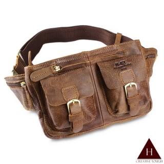 【H-CT】設計款實用雙袋真皮腰包(B8094-Z)