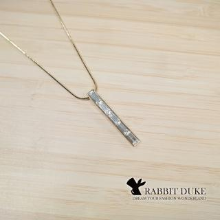 【RD 兔子公爵】經典歐美風格 個性長方形鑽拼接設計項鍊(單色)