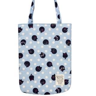 【San-X】小襪貓貓咪黑圓點系列棉布手提袋(藍)
