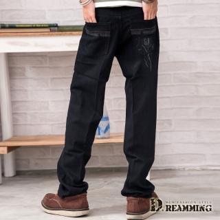【Dreamming】純色G&W造型口袋伸縮中直筒牛仔褲(黑色)