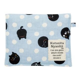 【San-X】小襪貓貓咪黑圓點系列棉布面紙小物收納袋(藍)