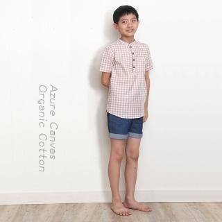 【azure canvas藍天畫布】100%有機棉/ 男童柔紗格子襯衫150-160cm(褐色)