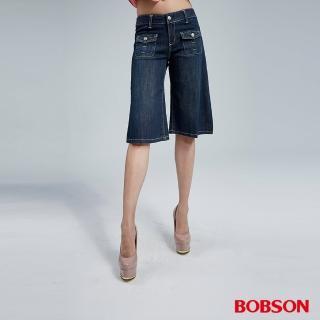 【BOBSON】女款寬潮作牛仔短褲(藍155-53)