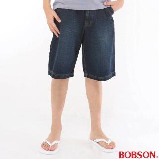 【BOBSON】男款寬版牛仔短褲(深藍131-52)