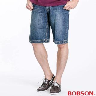 【BOBSON】男款寬版牛仔短褲(藍131-53)