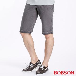 【BOBSON】男款不收邊短褲(灰134-85)