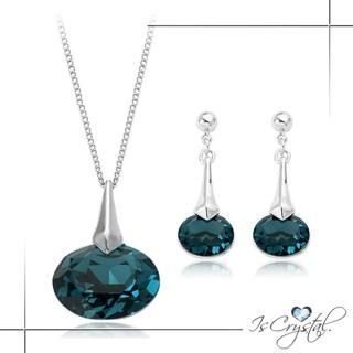 【伊飾晶漾】藍海風情*橢圓水晶耳環/項鍊組   伊飾晶漾