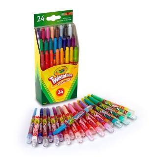 【美國crayola繪兒樂】迷你旋轉24色蠟筆(經典色)
