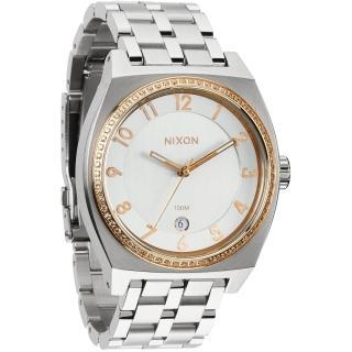 【NIXON】MONOPOLY輕巧晶鑽都會日期腕錶-銀x玫瑰金(A3251519)