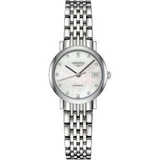 【LONGINES】Elegant 真鑽機械女錶-珍珠貝/25mm(L43094876)