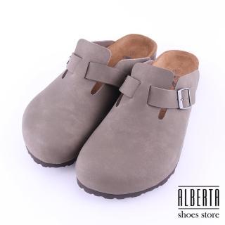 【Alberta】MIT台灣製高質感皮革男版半包鞋 懶人鞋(駝色)