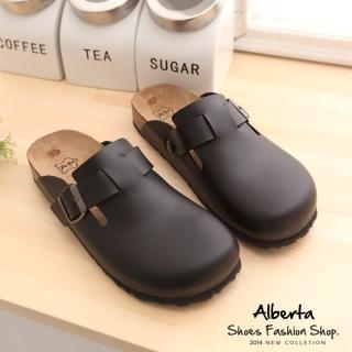 【Alberta】MIT台灣製高質感皮革男版半包鞋 懶人鞋(黑色)