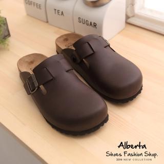 【Alberta】MIT台灣製高質感皮革男版半包鞋 懶人鞋(咖啡)