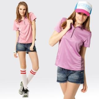 【SAMLIX 山力士】女款 MIT 台灣製 吸濕排汗 椰碳紗 羅紋領 短袖  POLO衫#SP207(粉紅.深紫)