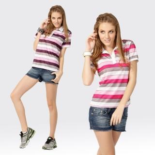 【SAMLIX 山力士】女款 MIT 台灣製 吸濕排汗 陶瓷紗 羅紋領 短袖  POLO衫#SP201(粉紅.紫色)