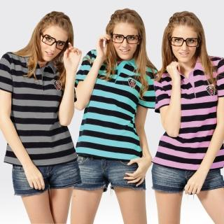【SAMLIX 山力士】女款 MIT 台灣製 吸濕排汗 快乾棉  短袖  POLO衫#SP203(黑灰.黑綠.黑粉)