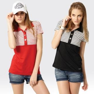 【SAMLIX 山力士】女款 MIT 台灣製 韓版 吸濕排汗   短袖  POLO衫#SP209(黑色.紅色)