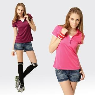 【SAMLIX 山力士】女款 MIT 台灣製  假兩件式 吸濕排汗 涼感紗  羅紋領 短袖  POLO衫#SP210(紫色.桃紅)