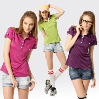 【SAMLIX 山力士】女款 MIT 台灣製  吸濕排汗 涼感紗  羅紋領 短袖  POLO衫#SP211(紫色.桃紅.綠色)