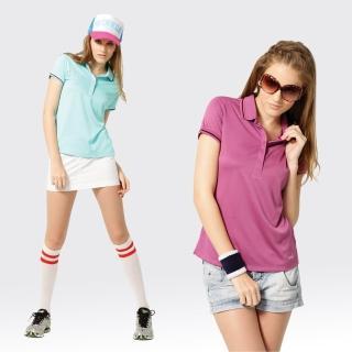 【SAMLIX 山力士】女款 MIT 台灣製  吸濕排汗 涼感紗  羅紋領 短袖  POLO衫#SP212(淺紫.藍綠)