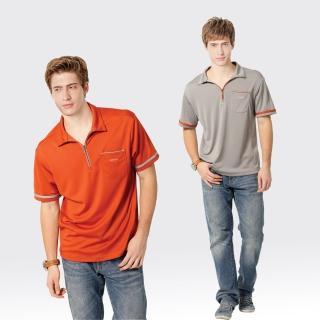 【SAMLIX 山力士】男款 MIT 台灣製  吸濕排汗 涼感紗   短袖  POLO衫#SP106(橘色.灰色)