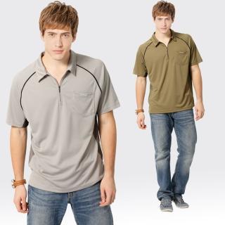 【SAMLIX 山力士】男款 MIT 台灣製  吸濕排汗 陶瓷紗   短袖  POLO衫#SP108(灰色.棕色)