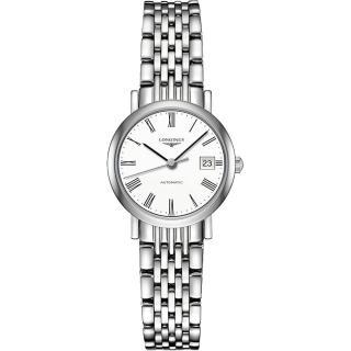 【LONGINES】Elegant 羅馬時尚機械女錶-白/25mm(L43094116)