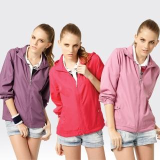 【SAMLIX 山力士】女 抗UV 輕薄 休閒 風衣 外套#WJ622(紫色.紅色.粉紫)
