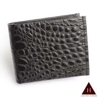 【H-CT】穩重黑鱷魚紋設計真皮短夾(PE212-3H-Z)